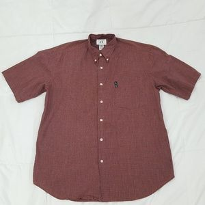 Armani Exchange Casual Shirt Mens Medium Red